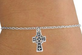 <Br>           LEAD & NICKEL FREE!!<BR>W14525B - SILVER TONE CROSS<Br>  CHILDREN'S CHAIN BRACELET<BR>           FROM $3.25 TO $7.50