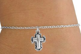 <Br>           LEAD & NICKEL FREE!!<BR>W14526B - SILVER TONE CROSS<Br>  CHILDREN'S CHAIN BRACELET<BR>           FROM $3.25 TO $7.50