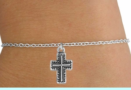 <Br>            LEAD & NICKEL FREE!!<BR>W14527B - SILVER TONE CROSS<Br>  CHILDREN'S CHAIN BRACELET<BR>           FROM $3.25 TO $7.50