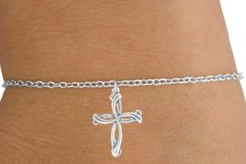 <Br>           LEAD & NICKEL FREE!!<BR>W14528B - SILVER TONE CROSS<Br>   CHILDREN'S CHAIN BRACELET<BR>           FROM $3.25 TO $7.50