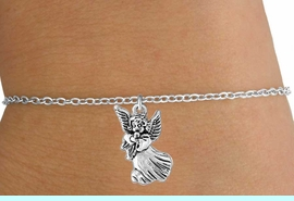 <Br>           LEAD & NICKEL FREE!!<BR>W14529B - SILVER TONE ANGEL<Br>  CHILDREN'S CHAIN BRACELET<BR>           FROM $3.25 TO $7.50