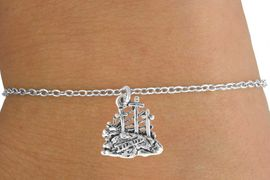 "<Br>           LEAD & NICKEL FREE!!<BR>W14531B - ""THREE CROSSES"" &<Br>  CHILDREN'S CHAIN BRACELET<BR>         FROM $3.25 TO $7.50"