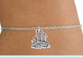 """<Br>           LEAD & NICKEL FREE!!<BR>W14531B - """"THREE CROSSES"""" &<Br>  CHILDREN'S CHAIN BRACELET<BR>         FROM $3.25 TO $7.50"""