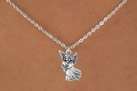 "<Br>             LEAD & NICKEL FREE!!<BR>   W14535N - SILVER TONE ANGEL<Br>CHILDREN'S 12"" CHAIN NECKLACE<BR>               FROM $3.55 TO $7.50"