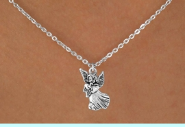 """<Br>             LEAD & NICKEL FREE!!<BR>   W14535N - SILVER TONE ANGEL<Br>CHILDREN'S 12"""" CHAIN NECKLACE<BR>               FROM $3.55 TO $7.50"""