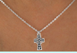 """<Br>             LEAD & NICKEL FREE!!<BR>  W14536N - SILVER TONE CROSS<Br>CHILDREN'S 12"""" CHAIN NECKLACE<BR>               FROM $3.55 TO $7.50"""