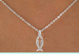 """<Br>                LEAD & NICKEL FREE!!<BR>W14537N - CHRISTIAN FISH & CROSS<Br>   CHILDREN'S 12"""" CHAIN NECKLACE<BR>                 FROM $3.55 TO $7.50"""