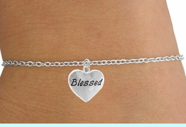 """<Br>         LEAD & NICKEL FREE!!<BR>W14540B - """"BLESSED"""" HEART<Br> CHILDREN'S CHAIN BRACELET<BR>        FROM $3.25 TO $7.50"""