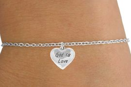 "<Br>             LEAD & NICKEL FREE!!<BR>W14541B - ""GOD IS LOVE"" HEART<Br>    CHILDREN'S CHAIN BRACELET<BR>             FROM $3.25 TO $7.50"