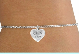 """<Br>             LEAD & NICKEL FREE!!<BR>W14541B - """"GOD IS LOVE"""" HEART<Br>    CHILDREN'S CHAIN BRACELET<BR>             FROM $3.25 TO $7.50"""