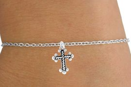 <Br>           LEAD & NICKEL FREE!!<BR>W14551B - SILVER TONE CROSS<Br>  CHILDREN'S CHAIN BRACELET<BR>         FROM $3.25 TO $7.50