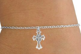 <Br>           LEAD & NICKEL FREE!!<BR>W14553B - SILVER TONE CROSS<Br>  CHILDREN'S CHAIN BRACELET<BR>         FROM $3.25 TO $7.50