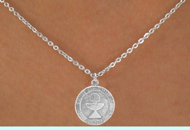 """<Br>                 LEAD & NICKEL FREE!!<BR>W14562N - """"BODY OF CHRIST AMEN""""<Br>   CHILDREN'S 12"""" CHAIN NECKLACE<BR>               FROM $3.55 TO $7.50"""