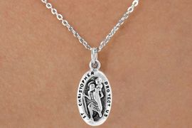 "<Br>               LEAD & NICKEL FREE!!<BR>W14565N - ""ST. CHRISTOPHER"" ON<Br> CHILDREN'S 12"" CHAIN NECKLACE<BR>               FROM $3.55 TO $7.50"