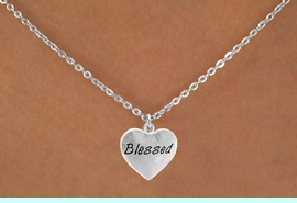 """<Br>             LEAD & NICKEL FREE!!<BR>W14566N - """"BLESSED"""" HEART ON<Br>CHILDREN'S 12"""" CHAIN NECKLACE<BR>               FROM $3.55 TO $7.50"""
