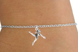 <Br>         LEAD & NICKEL FREE!!<BR>W14574B - SILVER BALLERINA<Br> CHILDREN'S CHAIN BRACELET<BR>              AS LOW AS $3.25