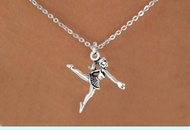 """<Br>             LEAD & NICKEL FREE!!<BR>W14575N - SILVER BALLERINA ON<Br>CHILDREN'S 12"""" CHAIN NECKLACE<BR>                   AS LOW AS $3.55"""