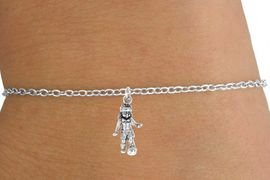 <Br>         LEAD & NICKEL FREE!!<BR>W14576B - SOCCER GIRL ON A<Br> CHILDREN'S CHAIN BRACELET<BR>               AS LOW AS $3.25