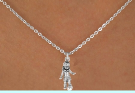 """<Br>             LEAD & NICKEL FREE!!<BR>    W14577N - SOCCER GIRL ON A<Br>CHILDREN'S 12"""" CHAIN NECKLACE<BR>                   AS LOW AS $3.55"""