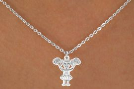 "<Br>                LEAD & NICKEL FREE!!<BR>W14581N - POM-POM CHEERLEADER<Br>   CHILDREN'S 12"" CHAIN NECKLACE<BR>                     AS LOW AS $3.55"