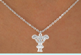 """<Br>                LEAD & NICKEL FREE!!<BR>W14581N - POM-POM CHEERLEADER<Br>   CHILDREN'S 12"""" CHAIN NECKLACE<BR>                     AS LOW AS $3.55"""
