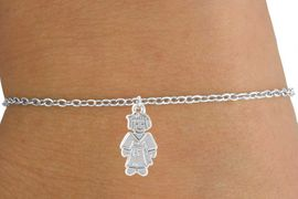 <Br>         LEAD & NICKEL FREE!!<BR>W14582B - KARATE GIRL ON A<Br> CHILDREN'S CHAIN BRACELET<BR>               AS LOW AS $3.25