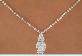 """<Br>             LEAD & NICKEL FREE!!<BR>    W14583N - KARATE GIRL ON A<Br>CHILDREN'S 12"""" CHAIN NECKLACE<BR>                  AS LOW AS $3.55"""