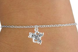 "<Br>        LEAD & NICKEL FREE!!<BR>  W14586B - ""I LOVE FROGS""<Br>CHILDREN'S CHAIN BRACELET<BR>              AS LOW AS $3.25"