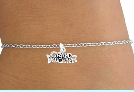 """<Br>           LEAD & NICKEL FREE!!<BR>W14590B - """"GRANDDAUGHTER""""<Br>  CHILDREN'S CHAIN BRACELET<BR>                AS LOW AS $3.25"""