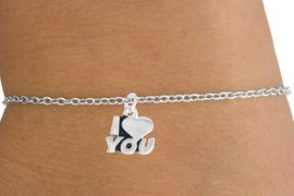 "<Br>         LEAD & NICKEL FREE!!<BR> W14592B - ""I LOVE YOU"" ON<Br>CHILDREN'S CHAIN BRACELET<BR>              AS LOW AS $3.25"