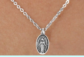 """<Br>             LEAD & NICKEL FREE!!<BR>W14599N - 2-SIDED VIRGIN MARY<Br>CHILDREN'S 12"""" CHAIN NECKLACE<BR>              FROM $3.55 TO $7.50"""
