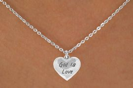 "<Br>              LEAD & NICKEL FREE!!<BR>W14600N - ""GOD IS LOVE"" HEART<Br>CHILDREN'S 12"" CHAIN NECKLACE<BR>              FROM $3.55 TO $7.50"