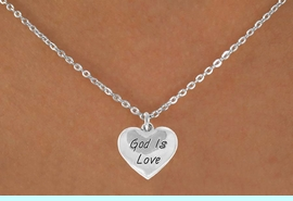 """<Br>              LEAD & NICKEL FREE!!<BR>W14600N - """"GOD IS LOVE"""" HEART<Br>CHILDREN'S 12"""" CHAIN NECKLACE<BR>              FROM $3.55 TO $7.50"""