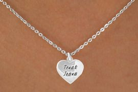 """<Br>             LEAD & NICKEL FREE!!<BR>W14601N - """"TRUST JESUS"""" HEART<Br>CHILDREN'S 12"""" CHAIN NECKLACE<BR>                FROM $3.55 TO $7.50"""