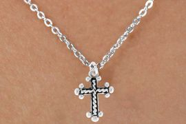 """<Br>              LEAD & NICKEL FREE!!<BR>   W14602N - CABLE CROSS ON A<Br>CHILDREN'S 12"""" CHAIN NECKLACE<BR>               FROM $3.55 TO $7.50"""
