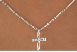 """<Br>              LEAD & NICKEL FREE!!<BR>W14603N - PETALED CROSS ON A<Br>CHILDREN'S 12"""" CHAIN NECKLACE<BR>               FROM $3.55 TO $7.50"""
