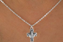 "<Br>              LEAD & NICKEL FREE!!<BR>W14604N - PEACE DOVE & CROSS<Br>CHILDREN'S 12"" CHAIN NECKLACE<BR>              FROM $3.55 TO $7.50"