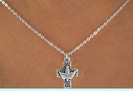 """<Br>              LEAD & NICKEL FREE!!<BR>W14604N - PEACE DOVE & CROSS<Br>CHILDREN'S 12"""" CHAIN NECKLACE<BR>              FROM $3.55 TO $7.50"""