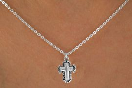 """<Br>              LEAD & NICKEL FREE!!<BR> W14606N - LACE TRIM CROSS ON<Br>CHILDREN'S 12"""" CHAIN NECKLACE<BR>              FROM $3.55 TO $7.50"""