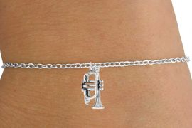 <Br>         LEAD & NICKEL FREE!!<BR>   W14613B - TRUMPET ON A<Br>CHILDREN'S CHAIN BRACELET<BR>              AS LOW AS $3.25