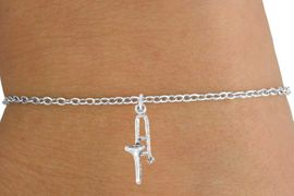 <Br>        LEAD & NICKEL FREE!!<BR> W14615B - TROMBONE ON A<Br>CHILDREN'S CHAIN BRACELET<BR>              AS LOW AS $3.25