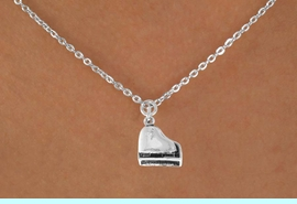 """<Br>            LEAD & NICKEL FREE!!<BR>          W14628N - PIANO ON A<Br>CHILDREN'S 12"""" CHAIN NECKLACE<BR>                  AS LOW AS $3.55"""