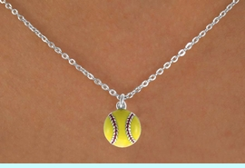 """<Br>            LEAD & NICKEL FREE!!<BR>   W14630N - YELLOW SOFTBALL<Br>CHILDREN'S 12"""" CHAIN NECKLACE<BR>            FROM $3.55 TO $7.50"""