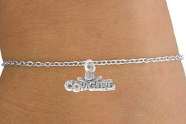 """<Br>             LEAD & NICKEL FREE!!<BR>W14631B - """"COWGIRL"""" MARQUEE<Br>    CHILDREN'S CHAIN BRACELET<BR>                  AS LOW AS $3.25"""