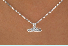 """<Br>             LEAD & NICKEL FREE!!<BR>W14632N - """"COWGIRL"""" MARQUEE<Br>CHILDREN'S 12"""" CHAIN NECKLACE<BR>                   AS LOW AS $3.55"""