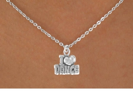 "<Br>            LEAD & NICKEL FREE!! <BR>       W14634N - ""I LOVE DANCE""<Br> CHILDREN'S 12"" CHAIN NECKLACE <br>       AS LOW AS $3.55"