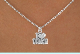 """<Br>            LEAD & NICKEL FREE!!<BR>       W14634N - """"I LOVE DANCE""""<Br>CHILDREN'S 12"""" CHAIN NECKLACE<BR>                  AS LOW AS $3.55"""