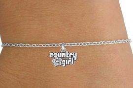 """<Br>        LEAD & NICKEL FREE!!<BR> W14635B - """"COUNTRY GIRL""""<Br>CHILDREN'S CHAIN BRACELET<BR>              AS LOW AS $3.25"""