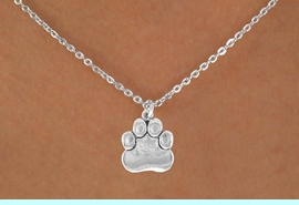 """<Br>            LEAD & NICKEL FREE!!<BR>    W14640N - SILVER TONE PAW<Br>CHILDREN'S 12"""" CHAIN NECKLACE<BR>                  AS LOW AS $3.55"""
