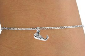 <Br>        LEAD & NICKEL FREE!!<BR> W14641B - SMILING WHALE<Br>CHILDREN'S CHAIN BRACELET<BR>              AS LOW AS $3.25